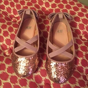 Girls rose gold glitter flats- Sz 7.5t